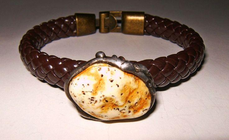 Bransoletka biały bursztyn - Amber-Box - Bransoletki plecione