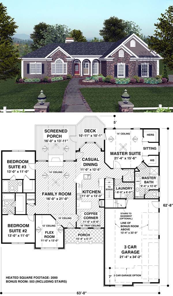 "#Ranch #HousePlan 74811 | The exceptional master suite, with direct access to the deck, a sitting area, full-featured bath and spacious walk-in closets, create a true ""Master's Retreat."" A bay window brightens the casual dining room and kitchen. Vaulted or trayed ceilings adorn the flex room, family room, master suite and cozy ""coffee corner."" The secondary bedroom suites, each measuring approx. 13' x 11', have walk-in closets and private baths."