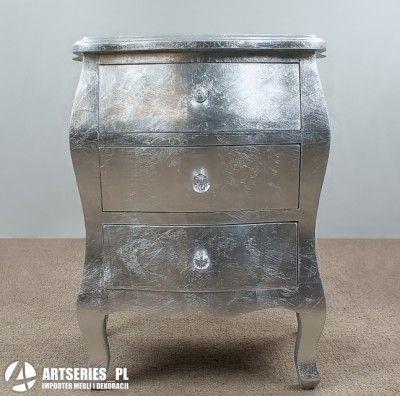 Stylowa srebrna szafka nocna 69235 komoda 3 szuflady - Danpol