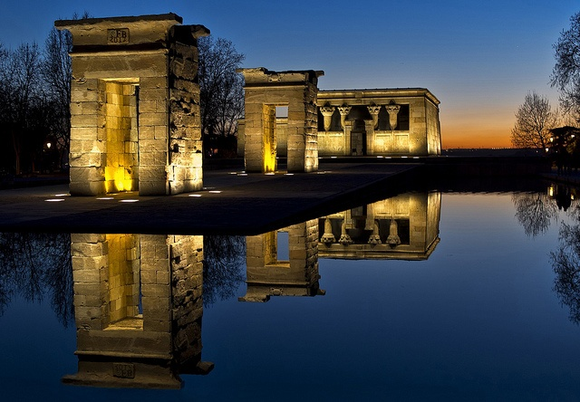 Ancient Egyptian temple of Debod saved from the waters of Lake Nasser, given to Spain by Egypt in 1968 to show gratitude for contibuting to saving of Abu Simbel - Parque del Oeste, Madrid