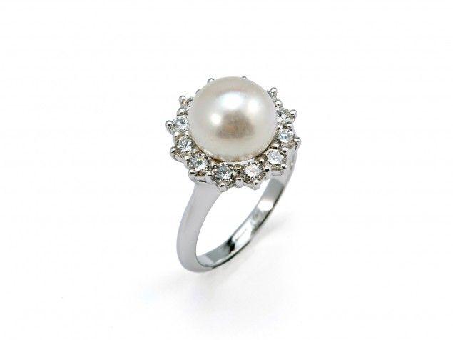 """Anello """"Daisy"""" con perla e diamanti"""