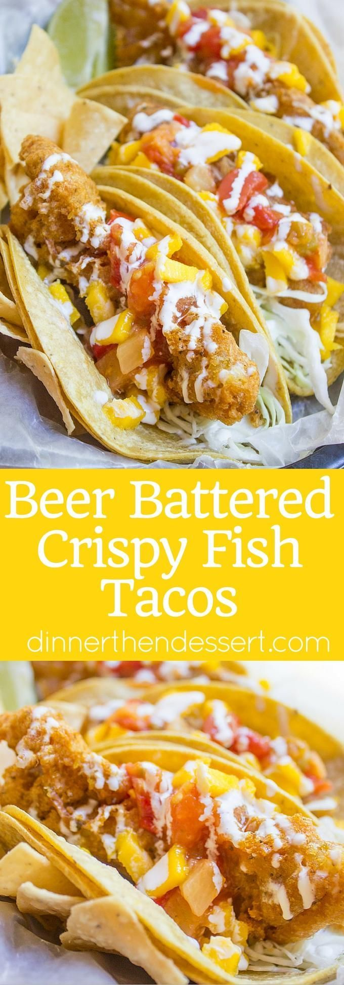 Beer Battered Crispy Fish Tacos with Mango Habanero Salsa are crunchy ...