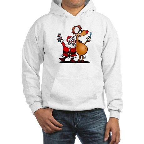 #Christmas #Hoodie #Santa #Reindeer #SantaClaus Santa Claus and his Reindeer Hoodie. #Cafepress #Cardvibes #Tekenaartje #SOLD