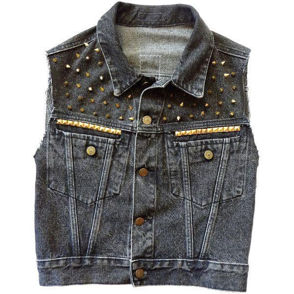 Studded Inverted Cross Vest - Black Denim ($50) ❤ liked on Polyvore