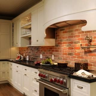exposed brick kitchen backsplash home decor pinterest elegant brick backsplash in the kitchen presented with