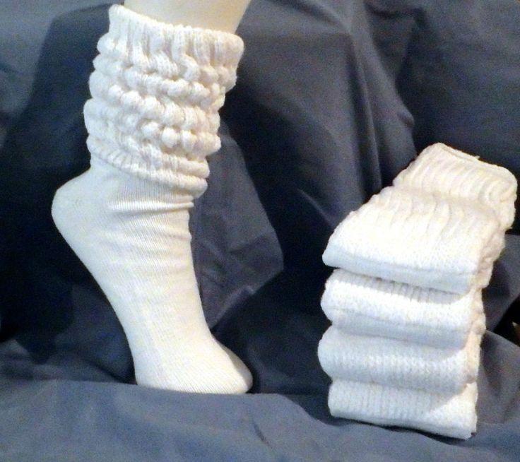4 pair White Super Heavy Slouch Socks Mens Womens