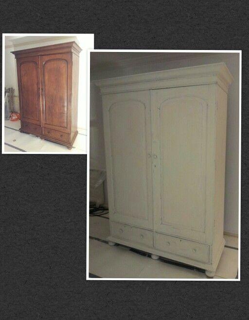 Mooie oude kast gerestyled met annie sloan krijtverf in de kleur oud wit en doorgeschuurd - Oude huisdecoratie ...