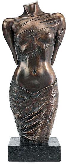 """Willi Kissmer - Skulptur """"Halbakt mit zwei Tüchern"""" (2008), Bronze"""