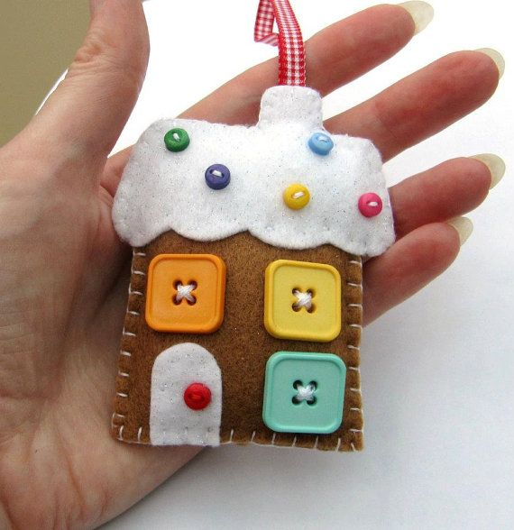 Gingerbread House Christmas Decoration by hattifers on Etsy, £8.95. cute square buttons