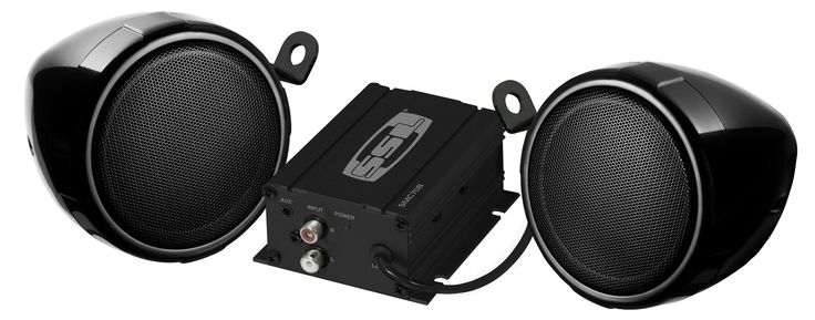 "SOUND STORM SMC70B Black 600 watt Motorcycle/ATV Sound System with Bluetooth Audio Streaming, One pair of 3"" Weather Proof Speakers"