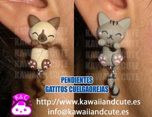 polimer clay kitty earrings