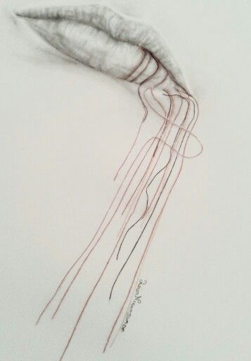 Lips graphite drawing and red sewing thread