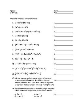 adding subtracting polynomials worksheet - Termolak
