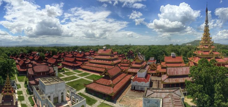 Mandalay royal palace view from watch tower. Myanmar, Burma backpacking SE Asia. Travel