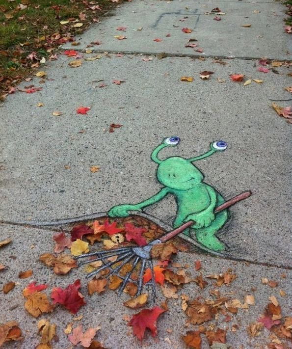 Street Art for fallen leaves