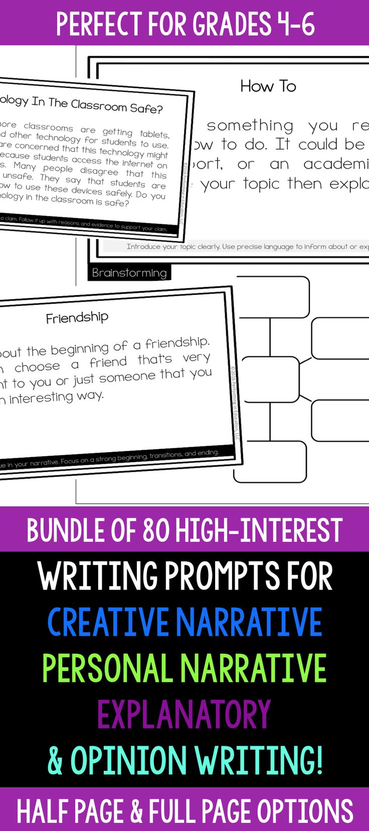 80 awesome writing prompts for creative narrative writing, personal narrative writing, explanatory writing, and opinion writing! Each comes with a full page prompt with brainstorming and half page card options for writing centers!