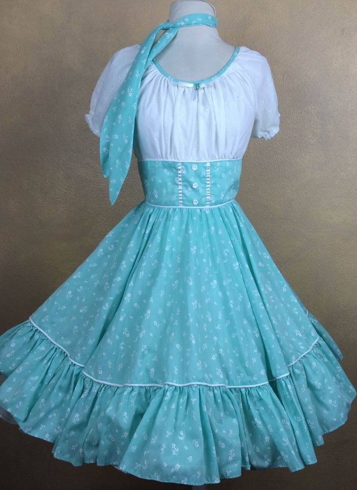 Mint Floral & Eyelet Square Dance Dress w Matching Man Tie #Unbranded