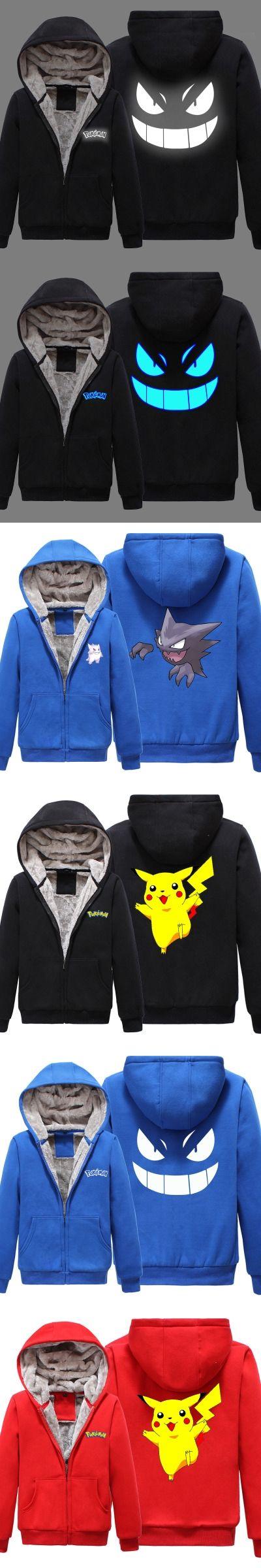 P01 New Winter Jackets and Coat  Pocket Monster Gengar reflect light hoodie Anime Pokemon Go 2 Luminous Thick Men Sweatshirts