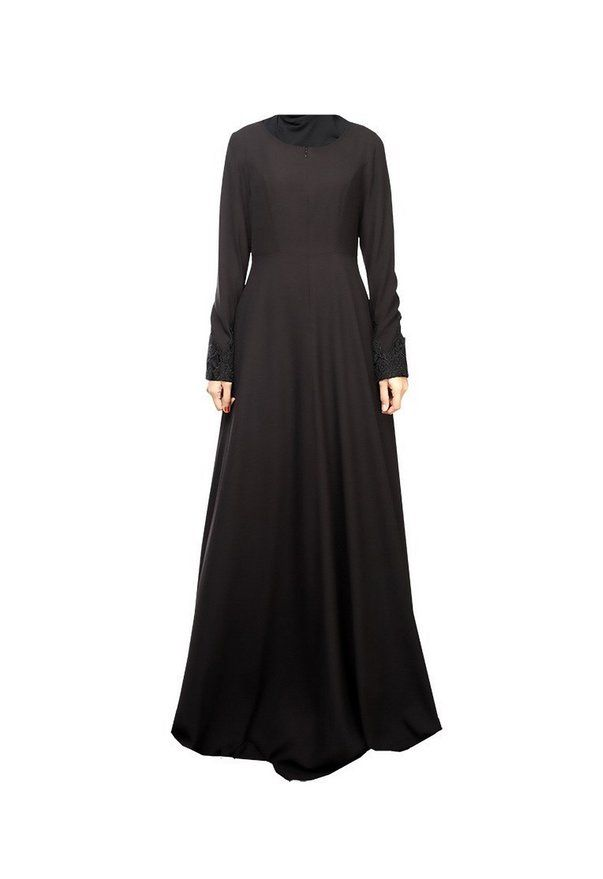 Abaya Turkish Islamic Lace Patchwork Indonesia Clothing Long Sleeve Muslim Women - Black , M