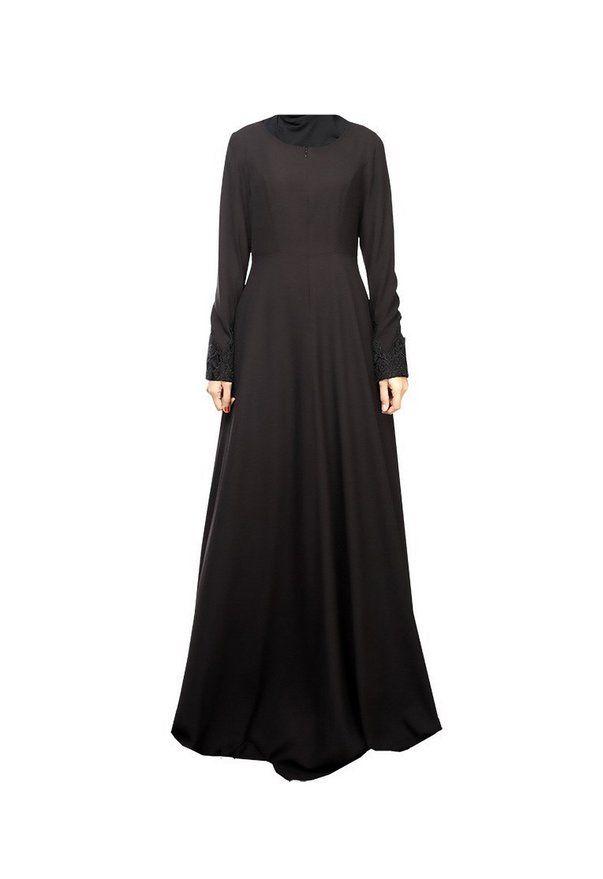 Abaya Turkish Islamic Lace Patchwork Indonesia Clothing Long Sleeve Muslim Women - Black , M