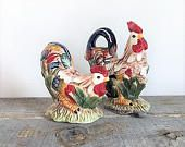 Vintage Chicken and Rooster Salt and Pepper Shakers Colorful Country Kitchen 1960's Ceramic Salt and Pepper
