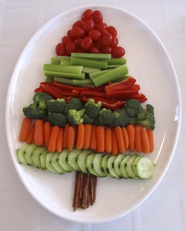 veggie tray, Christmas tree