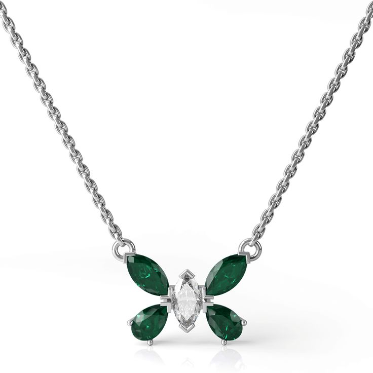 Emerald and diamond butterfly necklace from the Rain Forest Collection.