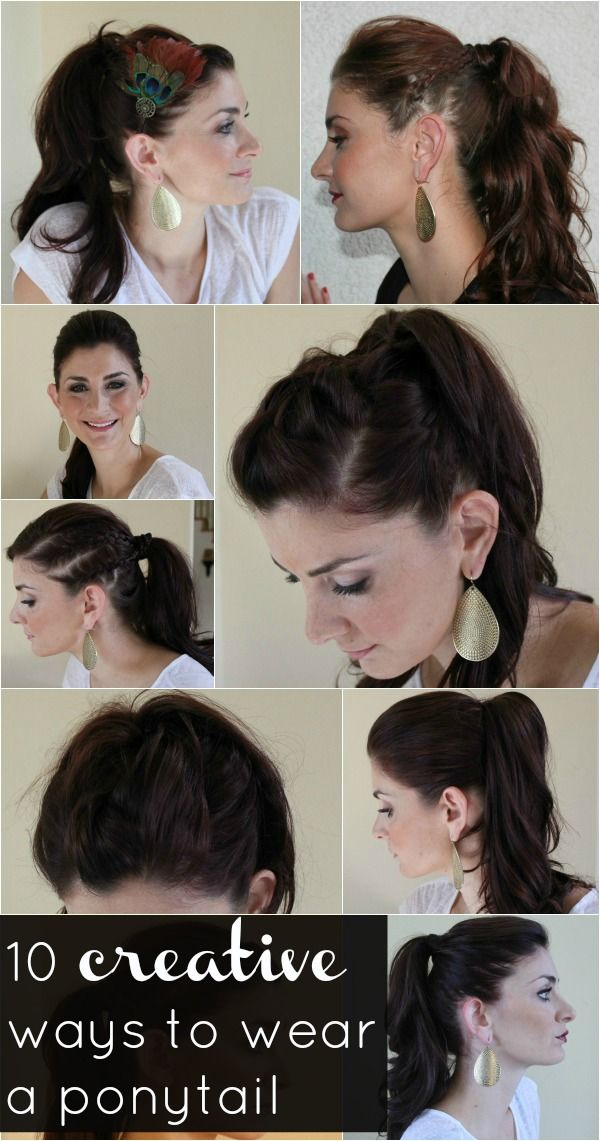 10 creative ways to wear a ponytail, most are ones I already do or pretty basic, but nice to have in one place. I love the double braids and double french braids :)