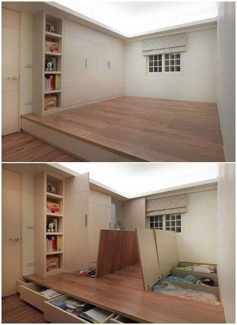 Under floor storage, what a great idea!