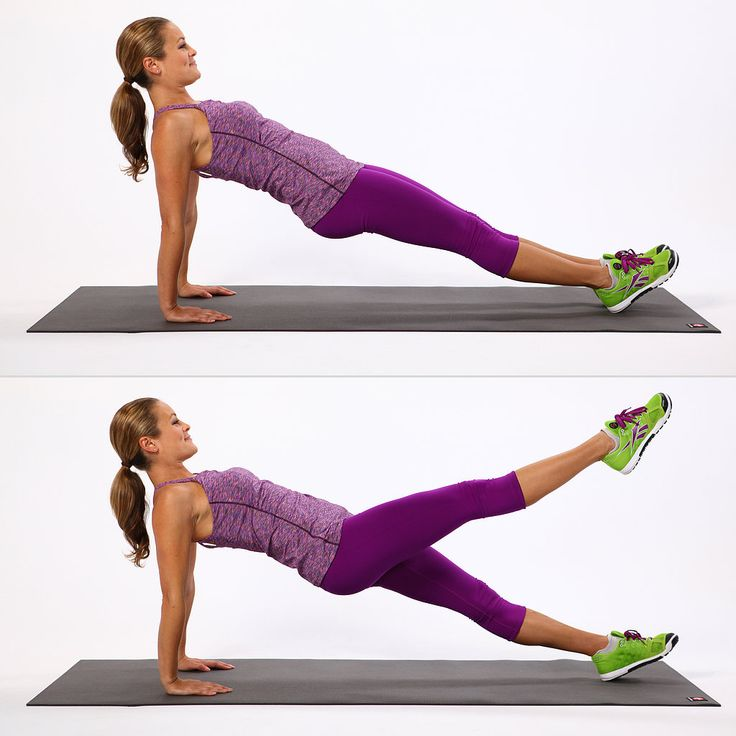 Try this variation of the reverse plank to target your shoulders, legs, and abs. Begin sitting on your tush with your legs straight. Bring your palms a few inches behind you, fingertips facing the toes. Press into your feet and lift your bum off the ground. Try to keep your body in one diagonal line. You can also do this exercise on your elbows if it bothers your wrists. Alternate between lifting your right leg up and then your left. Move with control, making the movements slow and steady…