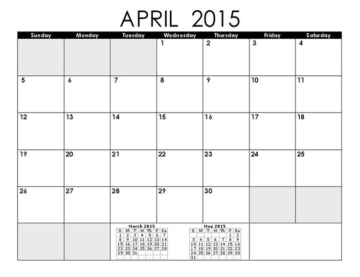 23 best April 2015 Calendar images on Pinterest Printable - blank calendar pdf