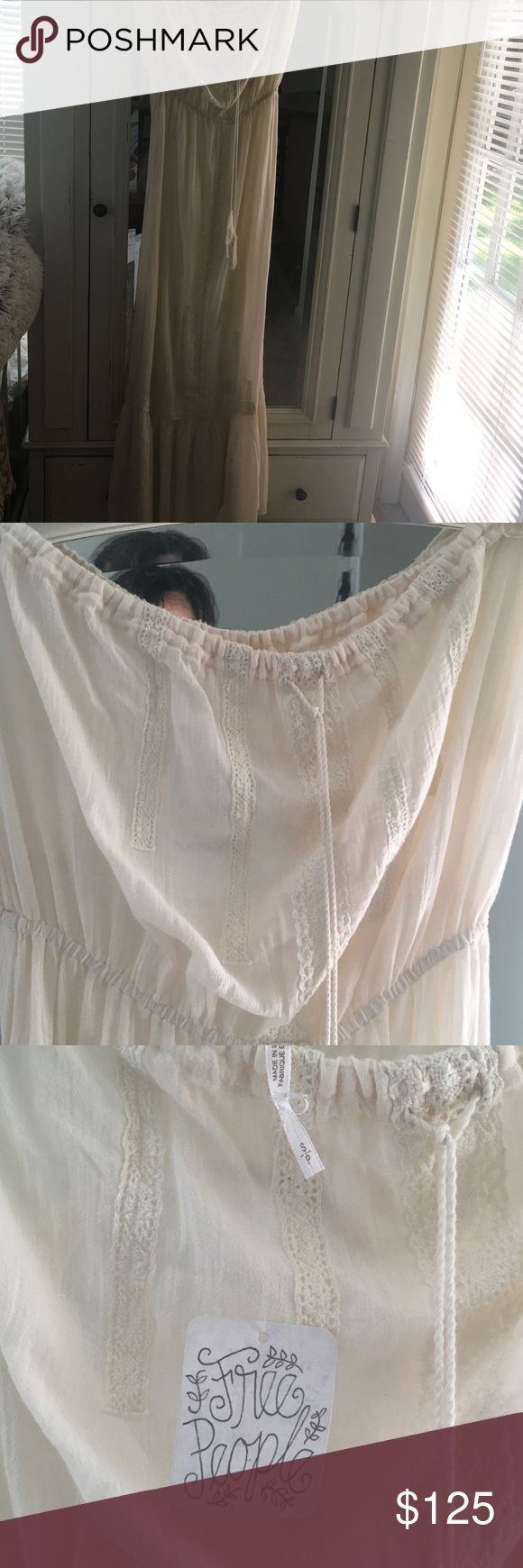 Free People Maxi Dress Strapless Free People Maxi Dress NWT - long and lovely drawstring on the front bodice - beautiful ivory lace detail. Free People Dresses Maxi