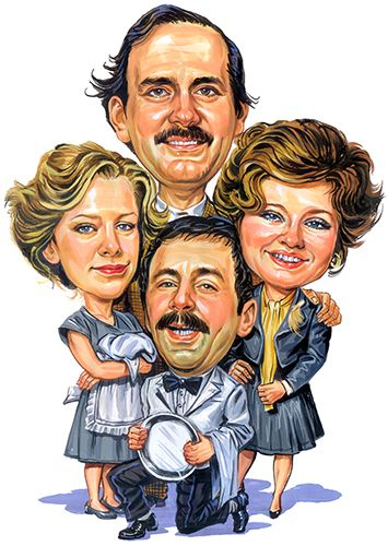 Fawlty Towers : Basil Fawlty (John Cleese), Sybil Fawlty (Prunella Scales), Polly Sherman (Connie Booth), Manuel (Andrew Sachs)...artwork by www.ExaggerArt.com