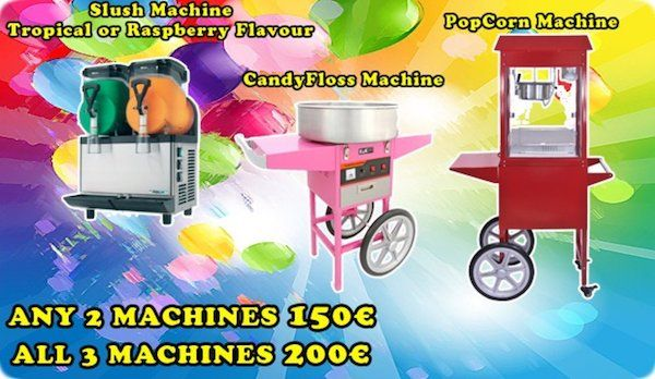 www.bouncy.ieWe hire out Popcorn, CandyFloss and Slush machines at very competitive prices.We specialise in this service for more then 6 years, we offer free delivery, free instructions and all supplies included in the price.Current winter deals:1 machine - 70€2 machines - 130€3 machines - 180€(You can choose any machines, all ingredients and delivery included in the price)We can do better deal if you order bouncy castle as well, please contact us for quote…
