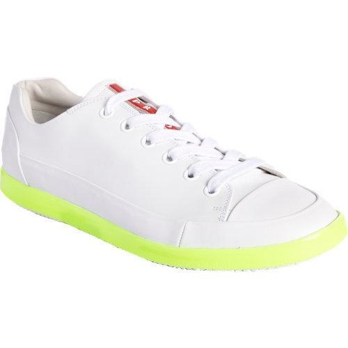 Smooth leather low top sneaker with contrast neon midsole. Rubber sole.Available in White/Neon YellowMade in Italy More Details