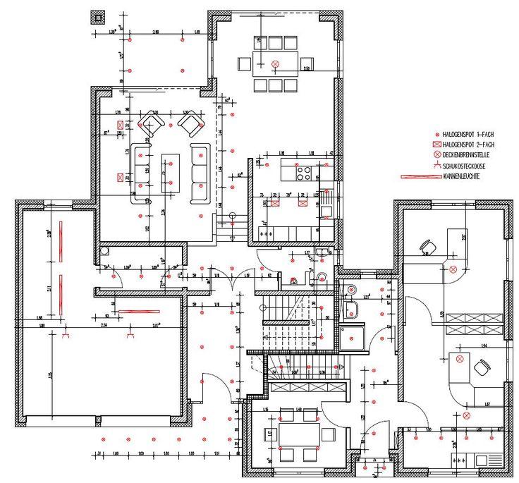Wohnhaus Erdgeschoss mit LED Einbaustrahler
