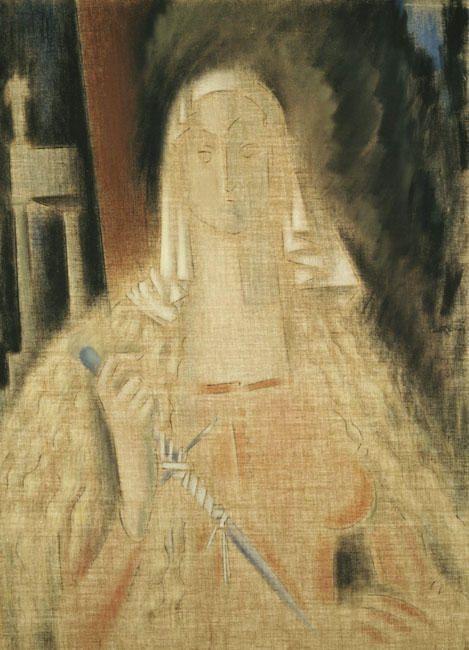 kaufen Gemälde'La Temperanza, Frau mit einem Messer' von Konstantinos Parthenis - Kaufen Sie eine handgemalte Ölreproduktion , Kunstreproduktion, Ölgemäldereproduktionen, Kunst auf Leinwand, Kunstwerksreproduktion, Leinwand Ölgemälde Reproduktion Kunstwerk