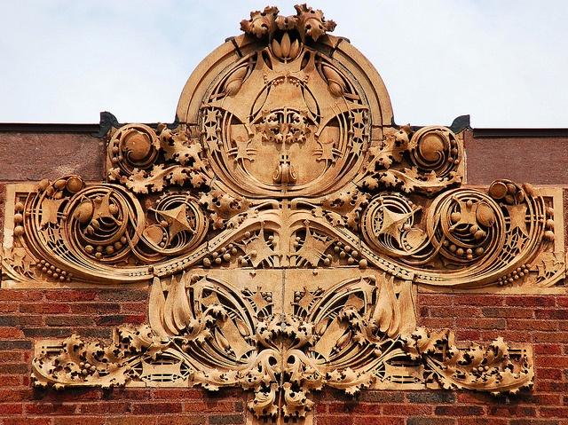 Purcell & Elmslie - Sullivanesque Facade Cartouche. Detail. Glazed Terra Cotta. First National Bank, Rhinelander, Wisconsin. Circa 1910.