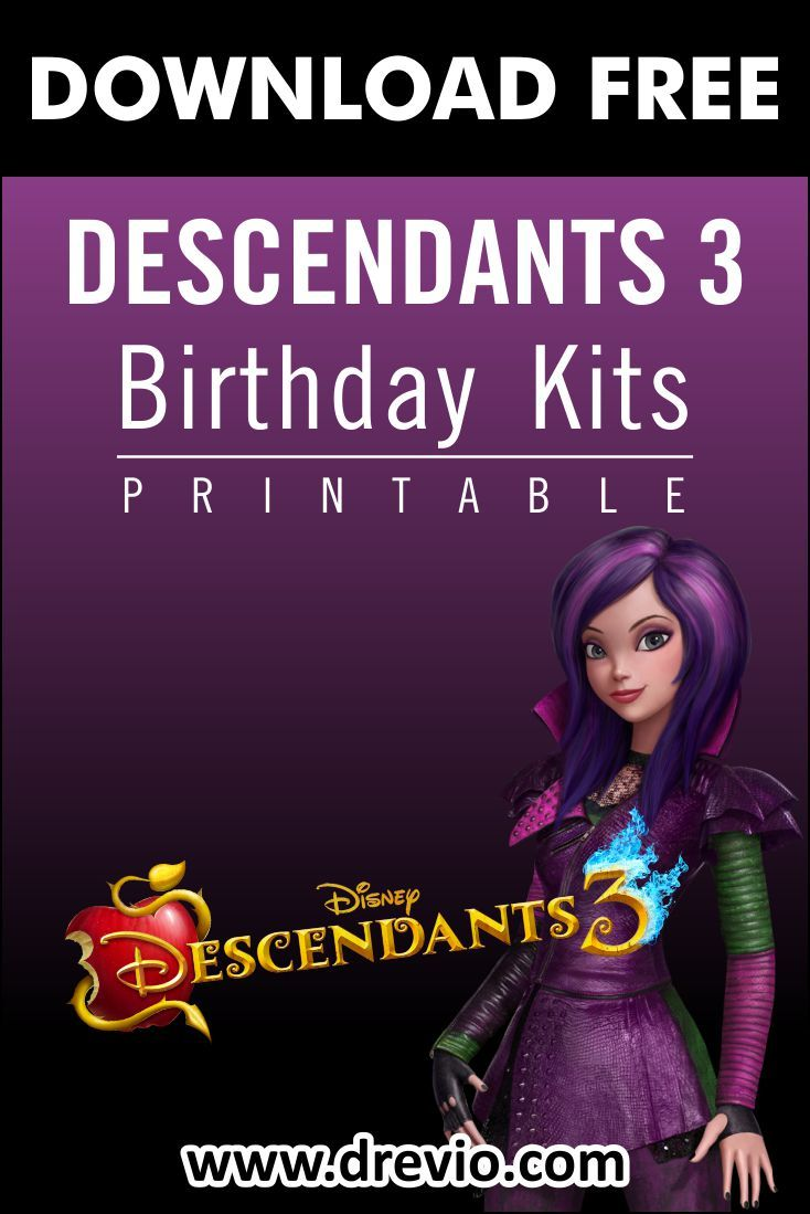 Free Printable Descendant 3 Birthday Party Kits Templates Birthday Party Kits Party Kits Free Printable Birthday Invitations