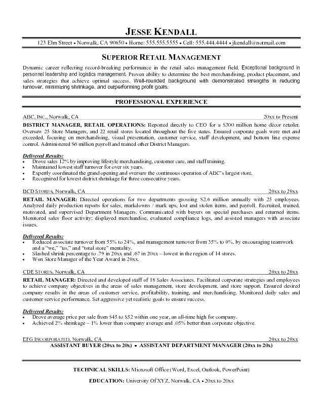 Resume For District Manager Retail Resume Retail Resume Examples Retail Resume Template