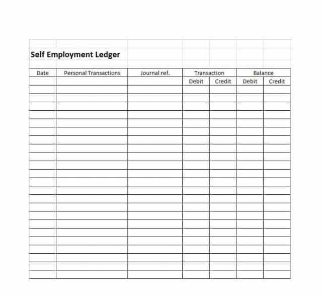 Self Employment Ledger Template Excel Free Download With Images