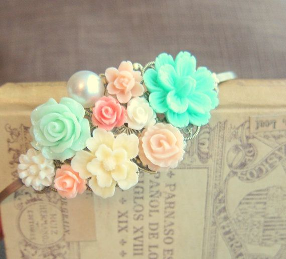 DISCOUNT AT JEWELSALEM! - Mint Green Pink Wedding Headband Head Band Floral Hair Band Accessories Flower Bridal Head Piece Bridesmaid Gift Pastel Colors Soft Dreamy