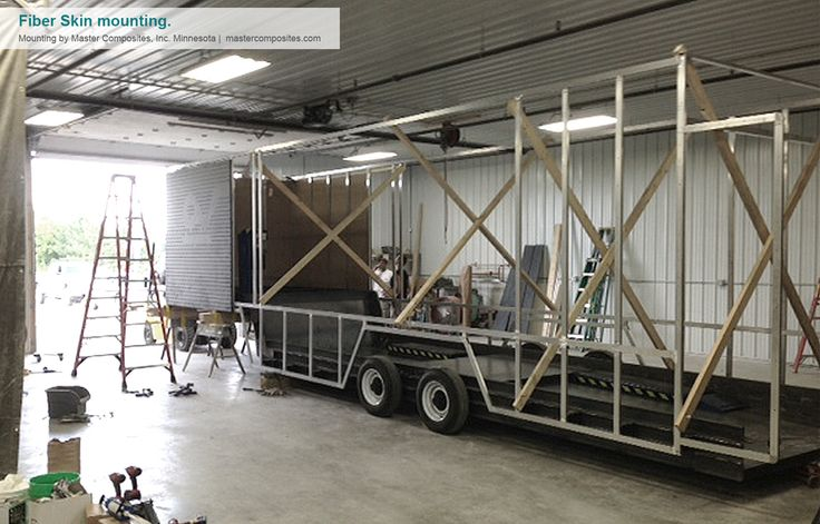 This image represents a custom design trailer during the skin mounting process. Credits for the production to http://mastercomposites.com/