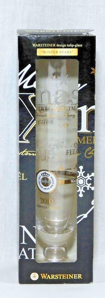 Warsteiner Christmas Design 2010 Tulip Glass Winter Stars Champagne Beer LE #Warsteiner