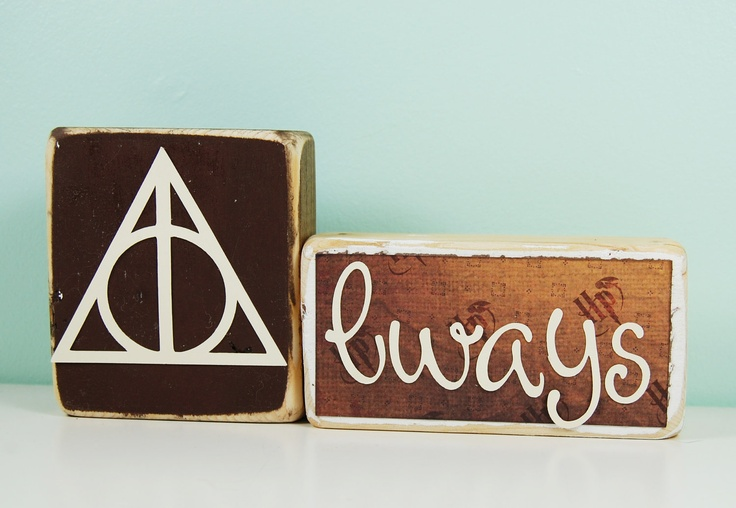 Always - Harry Potter and the Deathly Hallows - Wood Block Decor Set. $11.00, via Etsy.