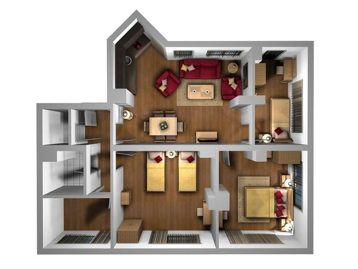 Interior plan houses birdseye 3d furniture layout Birds eye view house plan