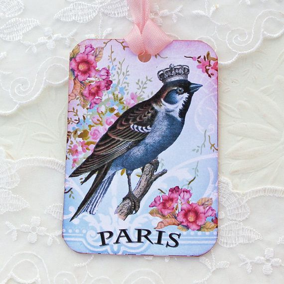 Bird Tags Gift Hang Birthday Paris Tea Party by EnchantedQuilling