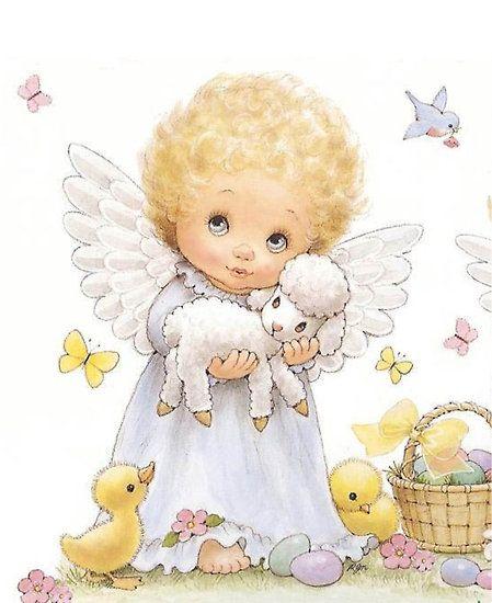 Baby angel w lamb | Cute Printables | Melek, Tablolar ve Bebek