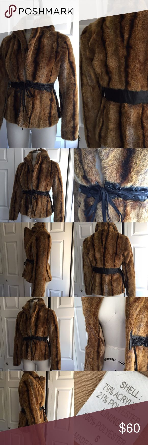 Vintage 90s Faux Fur Mink Coat Bomber Jacket Amazing mint condition vintage faux fur bomber jacket. It has an awesome lace up cinched waist to give a great shape!! Size small. This looks like it came straight off of the American Hustle wardrobe rack. Jackets & Coats