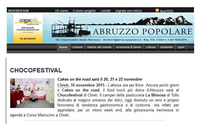 Si parla di noi su Abruzzo Popolare. http://www.abruzzopopolare.it